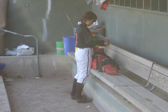 Eri in the dugout before the game - 3x2.jpg