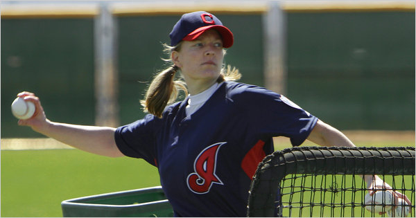Justine Siegal Pitching Cleveland BP at Spring Training.jpg